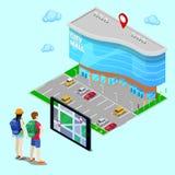 Concept isométrique de navigation mobile Mail de recherche de touristes de ville avec l'aide de la Tablette Vecteur Photographie stock