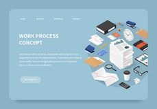 Concept isométrique de page d'atterrissage d'éducation illustration stock