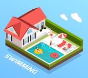 Concept isométrique de piscine illustration stock