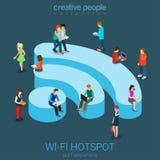 Concept isométrique de point névralgique gratuit de Wi-Fi de public Photos libres de droits