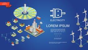 Concept isométrique de production d'électricité illustration libre de droits