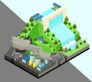 Concept isométrique de production d'énergie de substitution  Photographie stock libre de droits