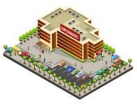 Concept isométrique de région de supermarché illustration libre de droits
