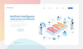 Concept isométrique de RPA, d'intelligence artificielle, d'automatisation des processus de robotique, d'AI dans le fintech ou de  illustration stock