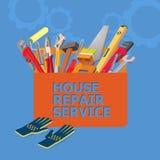 Concept isométrique de service des réparations de maison Outils de construction Photographie stock