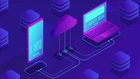 Concept isométrique de stockage de nuage banque de vidéos