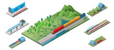 Concept isométrique de transport ferroviaire Images stock