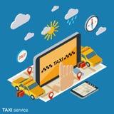 Concept isométrique de vecteur d'appartement service compris de taxi illustration libre de droits