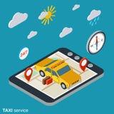 Concept isométrique de vecteur d'appartement service compris de taxi illustration stock