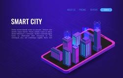 Concept isométrique de ville futée Automation de bâtiment avec l'illustration de mise en réseau d'ordinateur Technologie d'avenir illustration libre de droits