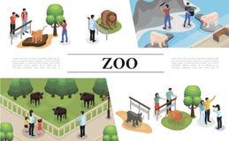 Concept isométrique de zoo illustration de vecteur
