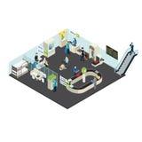 Concept isométrique intérieur d'aéroport illustration stock