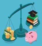 Concept isométrique plat de coût de l'éducation illustration libre de droits