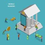 Concept isométrique plat de vecteur d'opérations bancaires mobiles Photo libre de droits