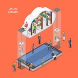Concept isométrique plat de vecteur de bibliothèque de Digital Photographie stock