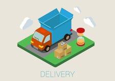 Concept isométrique plat de Web de chargement de cargaison de fourgon de livraison 3d Illustration Libre de Droits