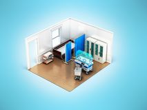 Concept isometric chamber with incubator for children bed 3d ren. Der on blue background Royalty Free Stock Image