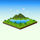 Concept of isometric landscape with nature and eco friendly,save the earth and world environment Stock Photo