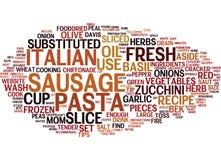 Concept italien de nuage de Word de fond des textes de pâtes de saucisse de biscuit du feu illustration libre de droits