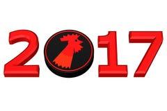 Concept: Jaar 2017 Jaar van de Haan volgens Chinese dierenriem het 3d teruggeven Royalty-vrije Stock Fotografie