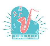 Concept of jazz music. A concert in the form of a piano with a saxophone. Icon in the linear style Stock Images