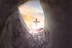 Easter Sunday concept: Jesus Christ crucifixion cross stock photos