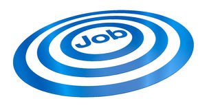 Concept of job. One target with the word: job on center, concept of finding the right employment (3d render Stock Images