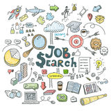 Concept of job search. Business people in search of work. Flat design, vector illustration Royalty Free Stock Photos