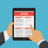 Concept of job searching. Job searching concept. Online job hunting Hands with computer tablet reading employment. Hand holding tablet with vacancies in flat Stock Image