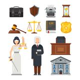 Concept of the judicial system. Justice, equality, balance, legal issues. Concept of the judicial system. Judges portfolio, shield security guarantee, printing Stock Image
