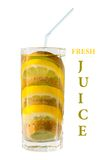 Concept juice. Mixed fruits in glass with pipe Royalty Free Stock Photos