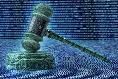 Concept juridique de juge d'ordinateur, marteau de cyber, illustration 3D Image stock