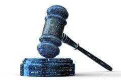 Concept juridique de juge d'ordinateur, marteau de cyber, illustration 3D Photos libres de droits