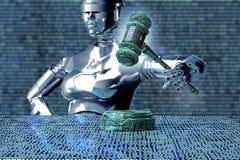 Concept juridique de juge d'ordinateur, robot avec le marteau, illustration 3D Photographie stock