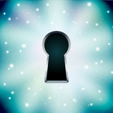 Concept of key hole on starry Stock Photos