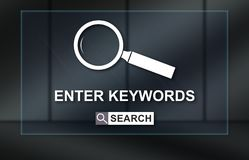 Concept of keywords search. Keywords search concept on dark background Stock Photos