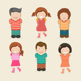 Concept of kids character. Set of six laughing kids character wearing stylish dress on beige background Royalty Free Stock Images