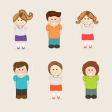 Concept of kids character. Set of six smiling kids character wearing stylish dress on beige background Stock Photos