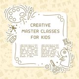 Concept of kids creative master classes info poster with sample text. Suitable for advertisement or information banner decor stock illustration