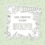 Concept of kids creative studio info poster with sample text. Suitable for advertisement or information banner decor vector illustration