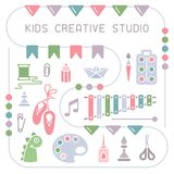 Concept of kids creative studio placard in flat style. Suitable for advertising stock illustration