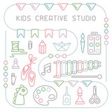Concept of kids creative studio placard. Linear style vector illustration. Suitable for advertising royalty free illustration