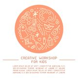 Concept of kids creative workshop placard. With sample text and icons of things for creative activity royalty free illustration