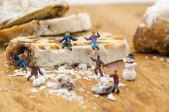 Concept Kids playing in the snow. Playing on a winter cake Stock Photo