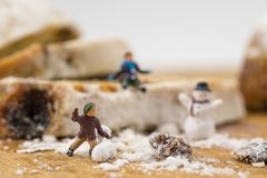 Concept Kids playing in the snow. Playing on a winter cake Stock Photography