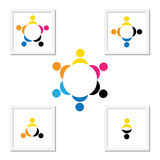 Concept of kids playing, teamwork and diversity. The logo template contains kids holding hands & forming a circle & can also represent concept of corporate Royalty Free Stock Images