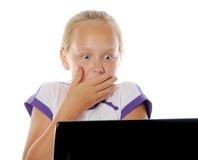 Concept of kids usind unsafe internet surfing Royalty Free Stock Images