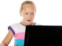 Concept of kids usind unsafe internet surfing Royalty Free Stock Photos