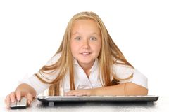 Concept of kids usind unsafe internet surfing Stock Photography