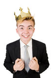 Concept of king businessman with crown Royalty Free Stock Images